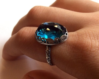 Birthstone Silver ring, statement ring, London blue topaz ring, cocktail ring, floral ring, crown ring, london topaz ring - Seduction R2149