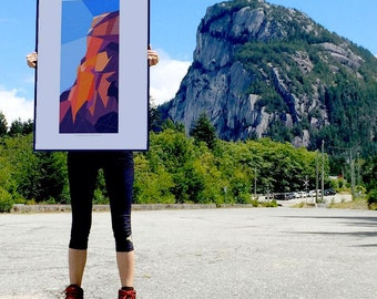 "Stawamus Chief, Squamish Street Banners, Abstract Landscape Art Print Poster  - 24""x36"""