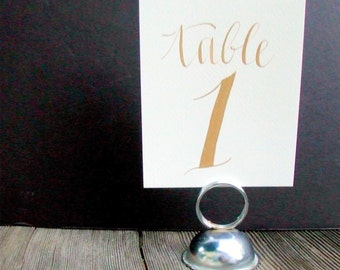 Hand Painted Table Number Cards, Gold Ink Calligraphy, Hand Lettering, Modern Rustic Wedding Decor, Table Seating  1 - 12