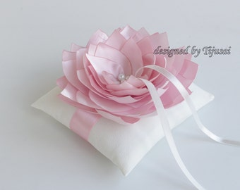 Wedding ring bearer pillow with pink satin lily ---wedding ring pillow , wedding pillow, rings cushion, ready to shipp