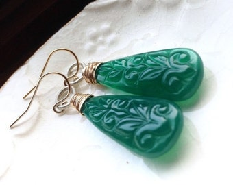 Fall Sale - Save 20% - Carved Green Onyx Wire Wrapped 14k Gold Filled Sterling Silver Mixed Metal Dangle Earrings - SALE