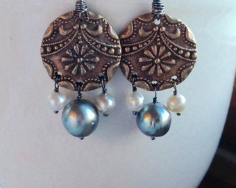 Fall Sale - Save 20% - Bronze Oxidized Sterling Silver Saltwater Pearl Tahitian Keshi Mixed Metal Earring Pair - SALE