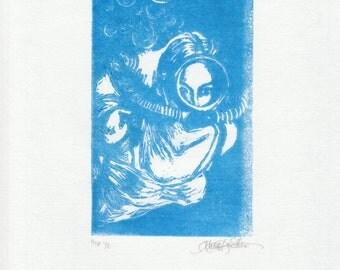 Original Fine Art Linoleum Cut Print - Vintage Diver - in Blue