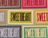 SWEETHEART Letterpress Wood Type Mini Cards and Envelopes 20 pack
