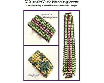 DiamonDuo Tutorial Herringbone Bracelet Beadweaving Pattern 2-hole Bead .pdf Instructions for Personal Use Jewelry Instructions