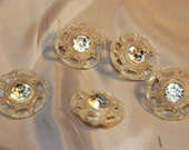 set of five vintage plastic and rhinestone buttons