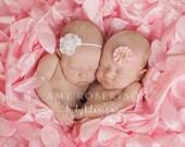 Newborn Baby Girl Twin Set Rustic Burlap or White Eyelet Flower Headband Photo Prop Set of 2 / Newborn Headbands / TWO Vintage Style Bows