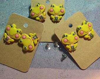 Yellow Girl Frog Earrings