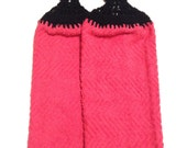 Pink Hand Towels With Black Crocheted Tops