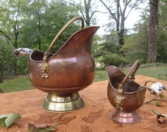 Vintage Copper and Brass Coal Scuttles/ Coal Hods - Home Decor