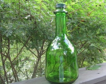 Vintage Green Glass Wine Bottle - Wine Decanter