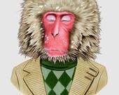Snow Monkey print - Macaque Monkey - animal print - modern kid art - modern nursery - animals in clothes - Ryan Berkley 8x10