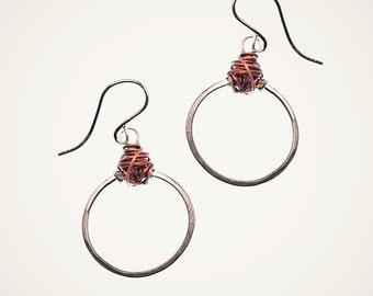 mixed metal knot earrings, sterling silver handmade hammered hoop earring with intricate wire work, geometric earrings