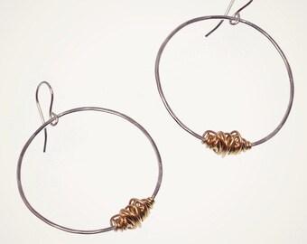 mixed metal earrings sterling silver hoop earrings with bronze accents modern earrings everyday earrings silver circle earrings handmade