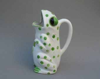 Vintage Frog Pitcher Schmid Design Folio Figural Pitcher Spotted Frog Hand Painted Ceramic