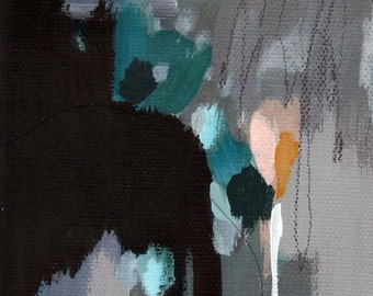 abstract painting, dark pools, one
