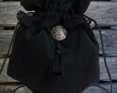 Renaissance Victorian Cotton Draw String Purse With Celtic Medallion