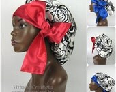 Sweet Sleep Satin Sleep Bonnet Cap White and Black Floral Natural Hair Products