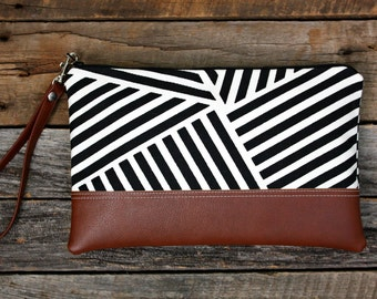 Black and White Geometric Stripe Canvas Clutch