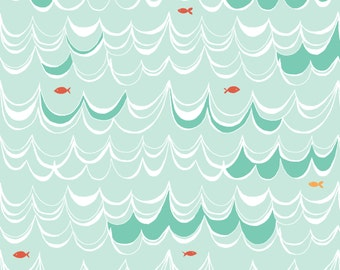 Swim - Under the Sea - Monaluna Fabrics - Organic Cotton - Water Fish Swimming Waves