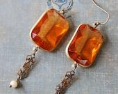 Art deco style earrings /topaz dangle earrings /vintage style earrings / statement earrings. Tiedupmemories