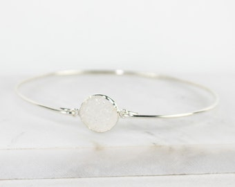 White Druzy and Sterling Silver Bangle Bracelet, Sterling Silver Bracelet, Druzy Bangle Bracelet, Silver Bangle