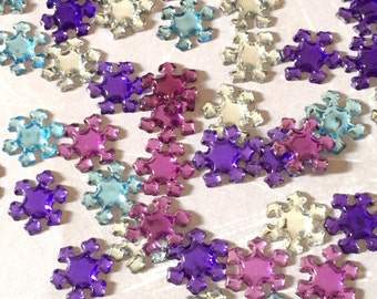 100 Snowflake Rhinestones Ice Party - Purple, Lilac, Crystal Clear and Frozen Blue - Bulk Wholesale