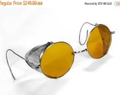 Steampunk Goggles Vintage WILLSON AMBER TINT Steam Punk Glasses Perforated Metal Side Shields 1900's Eyewear COoL - Steampunk by edmdesigns