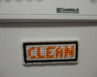 Black and Orange Clean/Dirty Magnetic Sign for Dishwasher