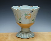 Frost turquoise Pedestal bowl / Compote w. Tangerine polka dots & detail, Victorian modern