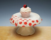 Ivory Cupcake Stand w. Ladybugs & Red polka dots, Victorian modern floral