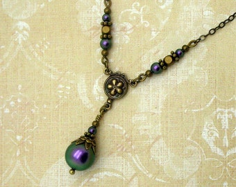 Neo Victorian Necklace with Iridescent Purple Swarovski Pearls and Brass,