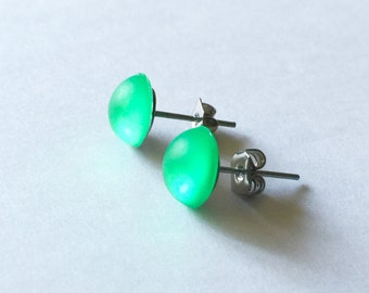 Kawaii Post Earrings Translucent GREEN Faux Candy Drops Stud Earrings Surgical Steel Posts Nickel / Lead free about 8mm wide Limited Edition