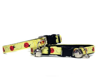 3/8 Wide Collar for Cat or Tiny Puppy in LadyBugs