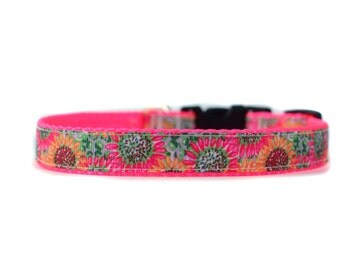 5/8 or 3/4 Inch Wide Dog Collar with Adjustable Buckle or Martingale in Hot Pink Sunflowers
