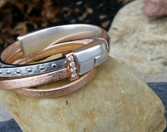 Leather Wrap Bracelet in Metallic Rose Gold and Silver with Magnetic Clasp