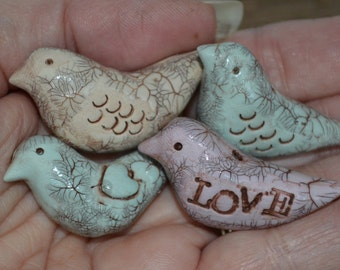4 Bird Beads Polymer Clay Faux Ceramic Shabby Chic Pendant Charms