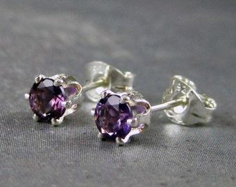 Amethyst studs-  4mm - Genuine amethyst - gemstones set in sterling silver - gemstone post earrings - February birthstone
