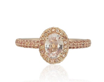 Sapphire Engagement Ring - Oval cut Pink Sapphire Ring with Peach Sapphire Halo and Three Sided Micropave Shank in 14k Rose Gold - LS4737