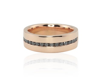 Men's Wedding Band - 7mm Wide Square Edge Men's Ring with Channel set Black Diamonds in 14k Rose Gold - LS4429