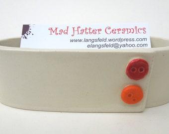 White Red Orange Button Handmade Ceramic Pottery Business Card Holder
