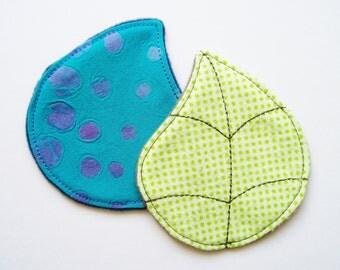 Set of 2 Cup Spots - Leaf and Rain Drop - Menstrual Cup Spots - Cup Rug - Cup Coaster - Cloth Wipes - Flannel Cotton Batik Microfleece