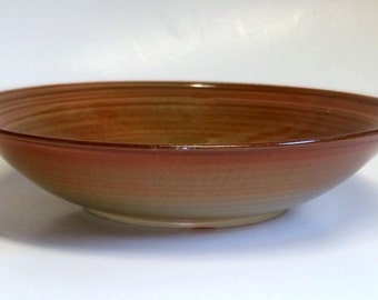 Large Wheel Thrown Bowl - Amber and Green Glaze Sprayed for Blending