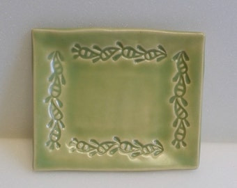 Pistashio Green Pottery Trivet Tray, Soap Dish, Ring Tray, Business Card Holder, Etc.