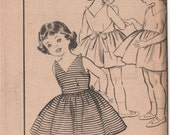 1950s Girls SunDress w/ Shoulder Button Straps and Tie Back Bow Advance 9065 Vintage Sewing Pattern Size 2 Breast 21 UNCUT No Envelope