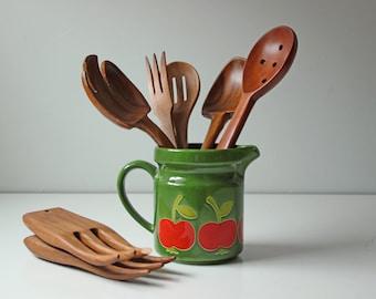 7 vintage wooden salad server, serving spoons and forks, carved wooden spoon
