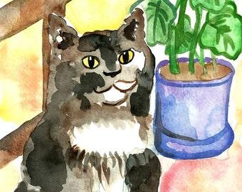 Original Cat Art Watercolor Painting Cat by the Window Cat Illustration Original Illustration Watercolor Cat Gift for Cat Lover Cat Painting