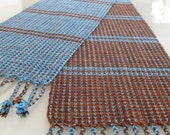 HandWoven Table Runner Turquoise Blue and Chocolate Brown