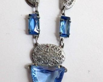 1930s Blue Glass Necklace Silver Filigree necklace Vintage Blue necklace *