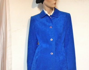 Blue Coat ULTRASUEDE Size 8 Vintage 70s Royal Blue Coat